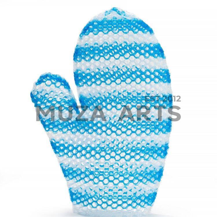 Мочалка рукавичка бело-голубая